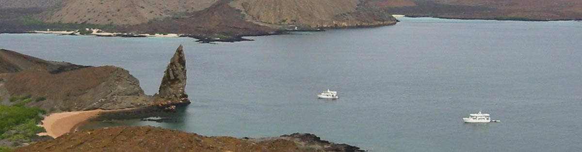 Ecuador - Galapagos Islands - Isla Bartolome  //  Boats gather at Needle Rock