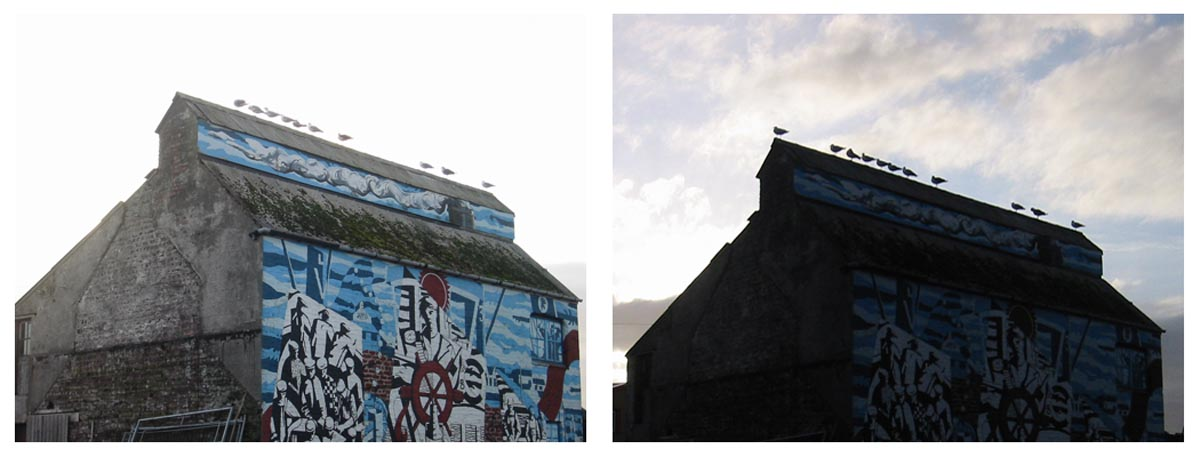 Scotland warehouse gulls Scottish mural gull silhouettes and sky exposure exercise Canon SD950